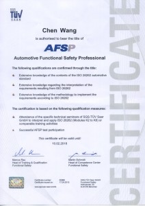 AFSP 26262 Certificates